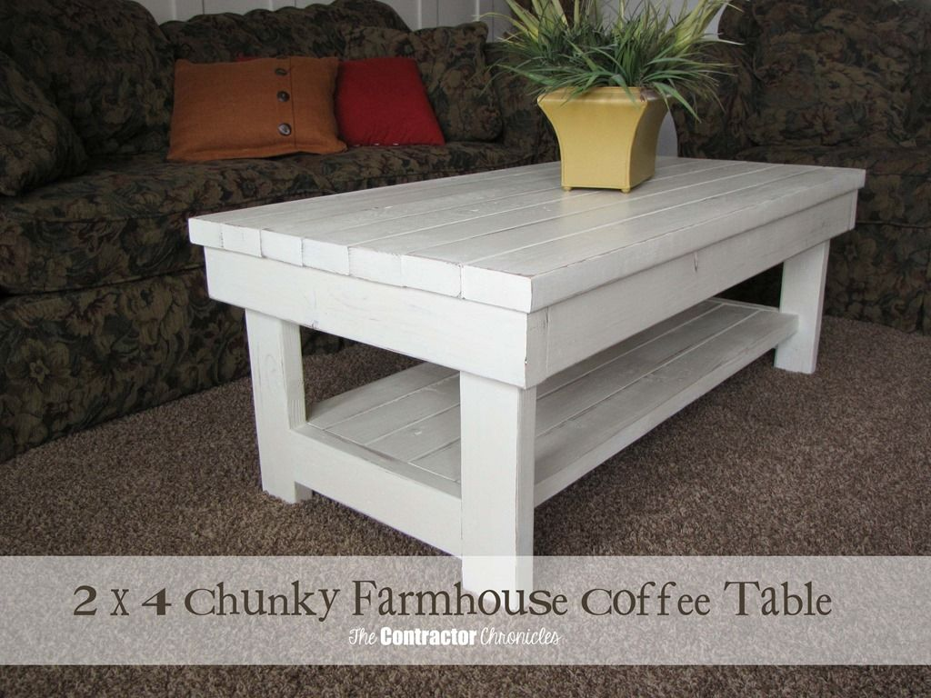 Table from a single 1 x 8 board see more diy twisty side table - 2 X 4 Chunky Farmhouse Coffee Table Finished In Old White Chalk Paint Decorative Paint