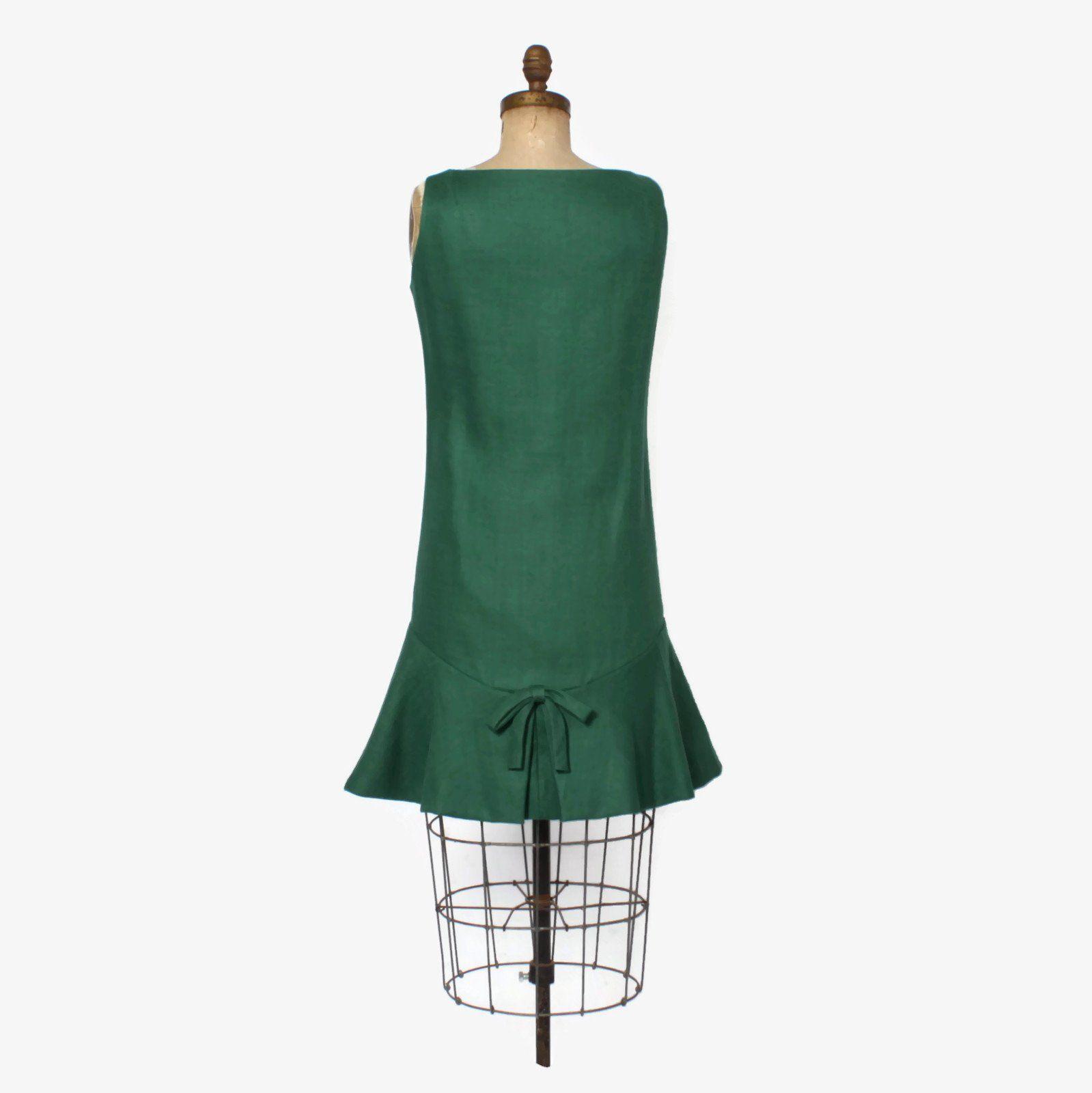 60s green dress  Vintage s GEOFFREY BEENE Dress  s Mod Green Linen Drop Waist