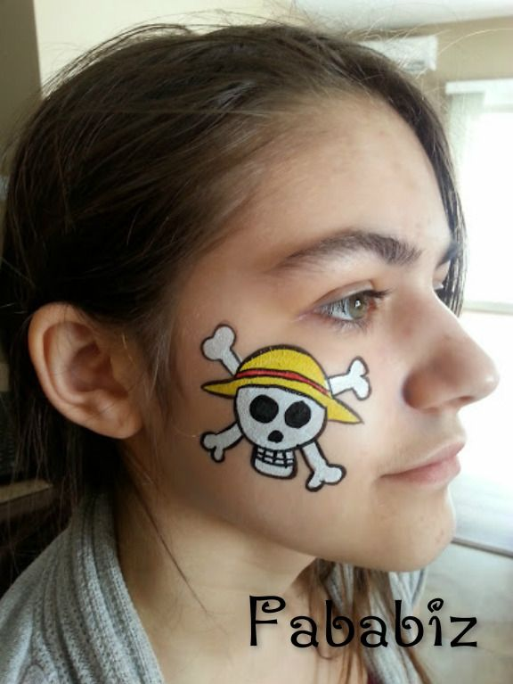 Teenagers Also Loves Face Painting Here Is A Anime One From One Piece Face Painting Face Carnival Face Paint
