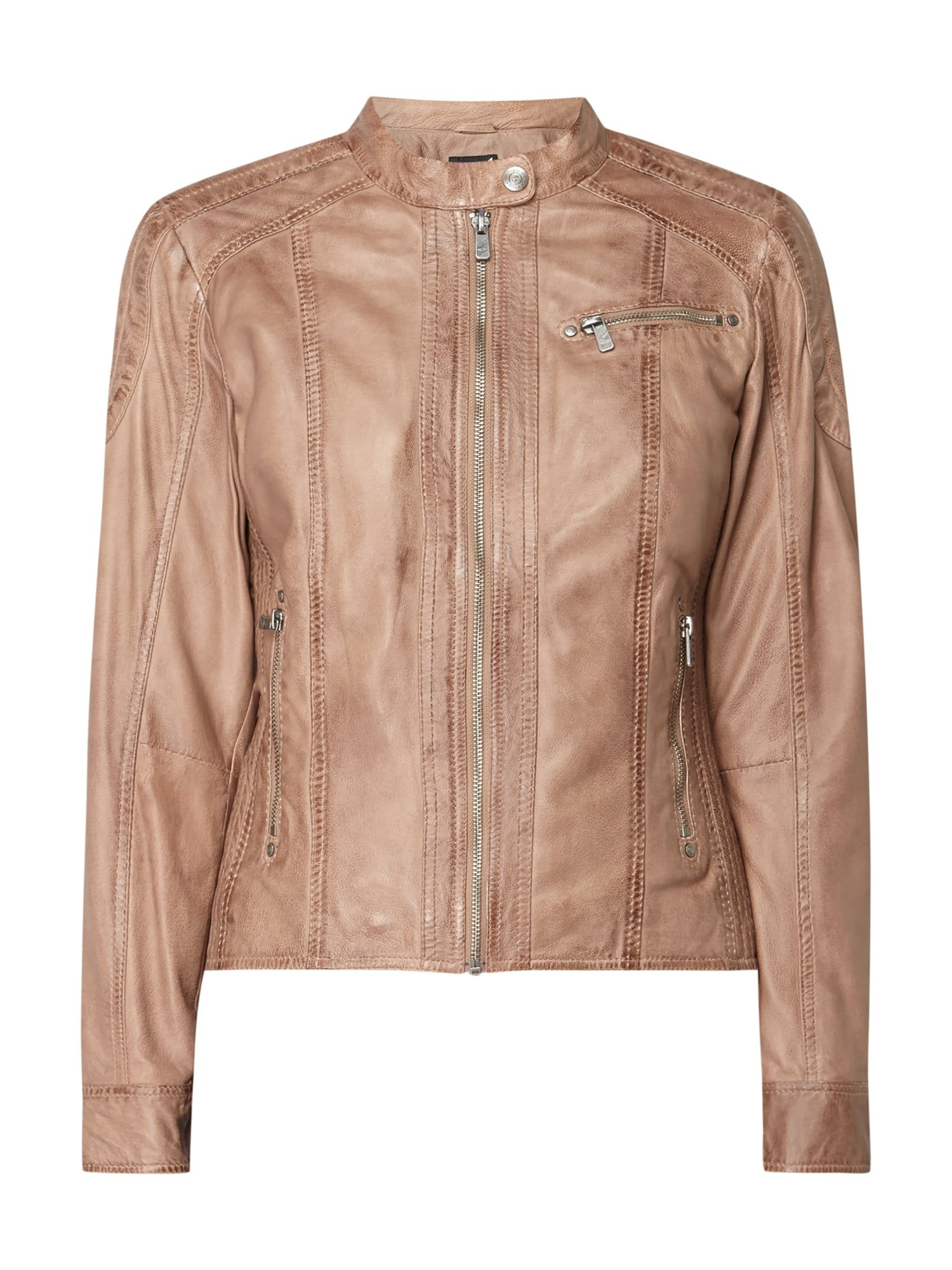Jilani – Lederjacke im Washed Out Look – Taupe | Lederjacke