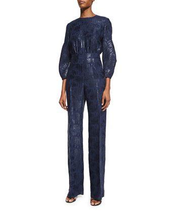 05e312154108 Straight-Leg Shimmery Jumpsuit