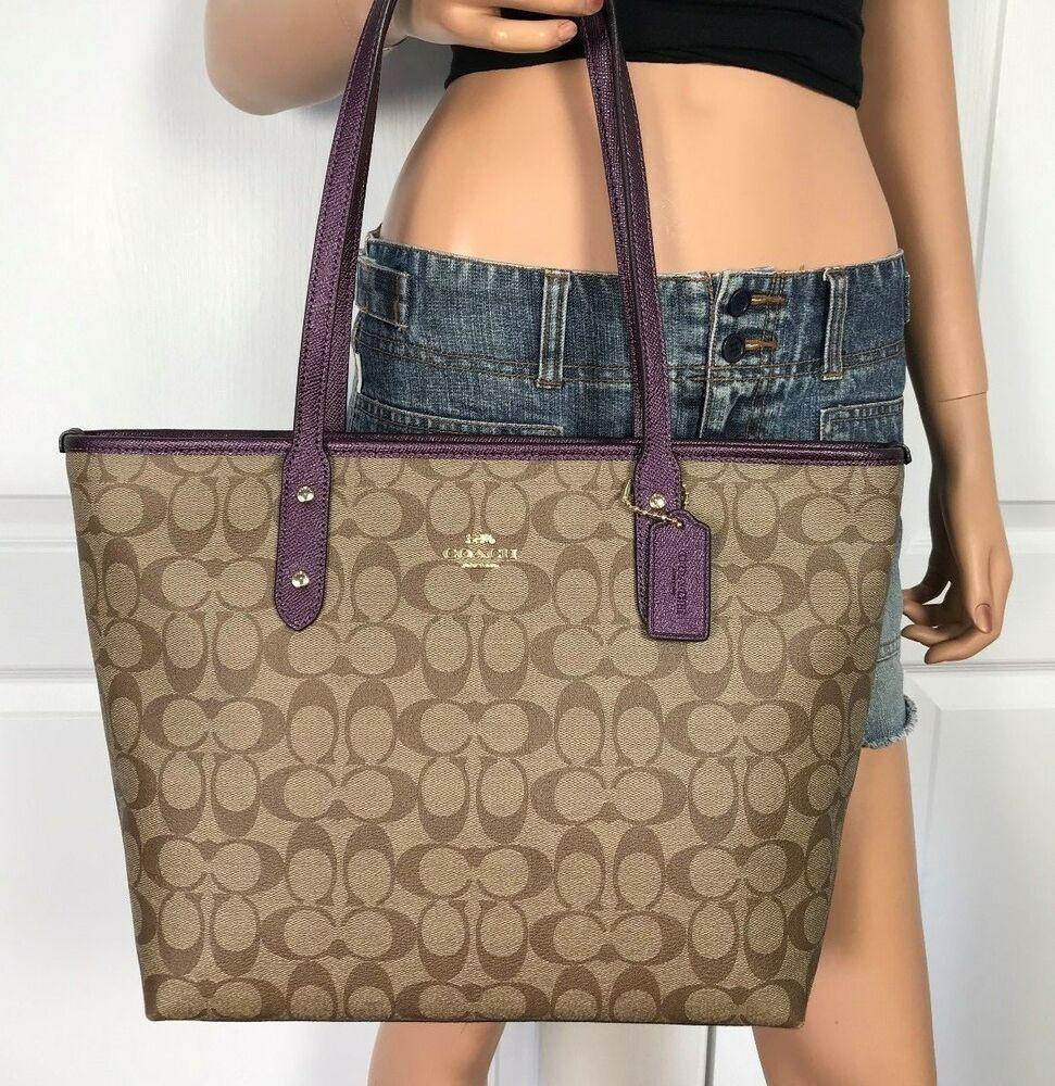 475bcd95a434c Coach F39523 Signature Khaki Metallic Rasberry Tote Handbag Authentic New  $295 #Coach #Tote