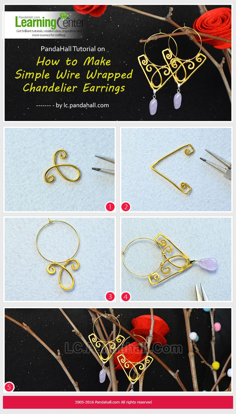 Pandahall tutorial on how to make simple wire wrapped chandelier pandahall tutorial on how to make simple wire wrapped chandelier earrings baditri Images