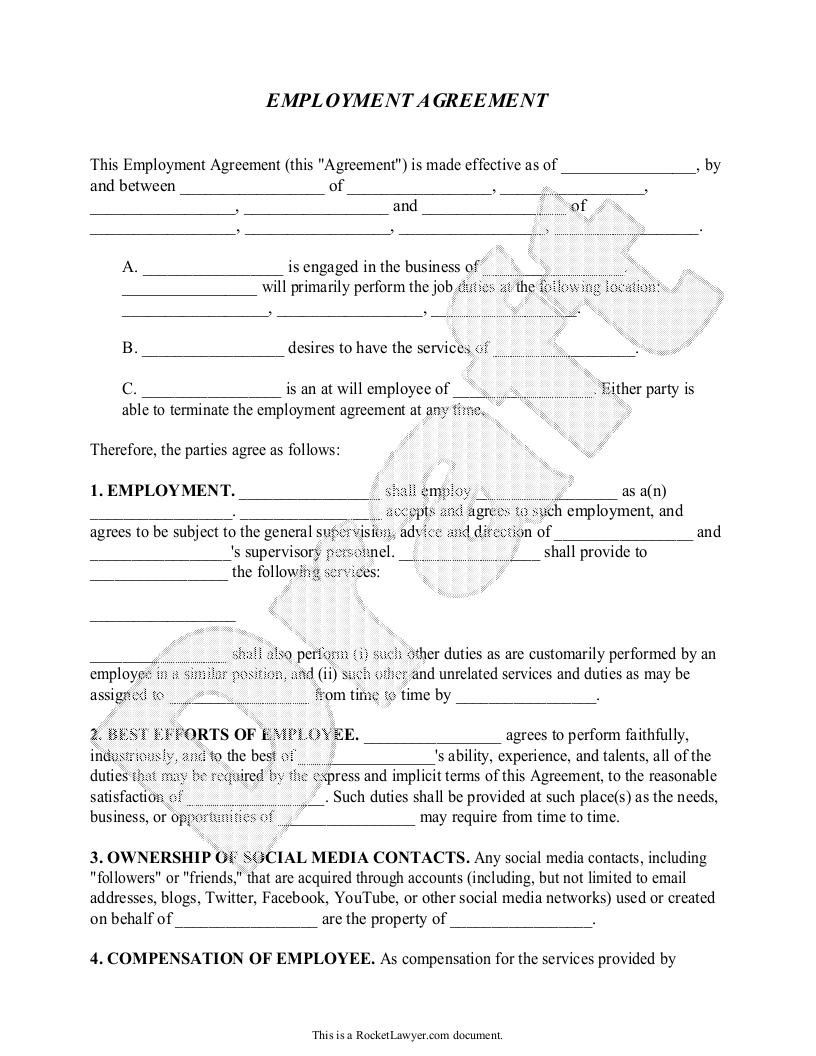 Employment Agreement  Legal Terms Contracts