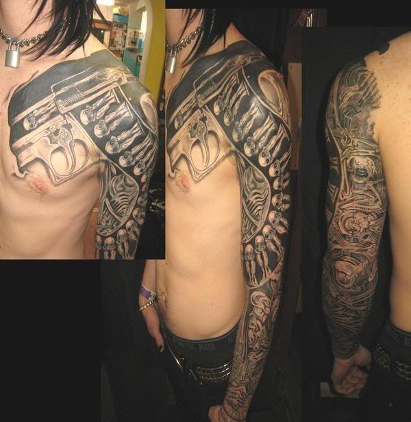 1a2a8162a5ca3 HR Giger Birth Machine gun tattoo sleeve | Tattoos: Miscellaneous ...