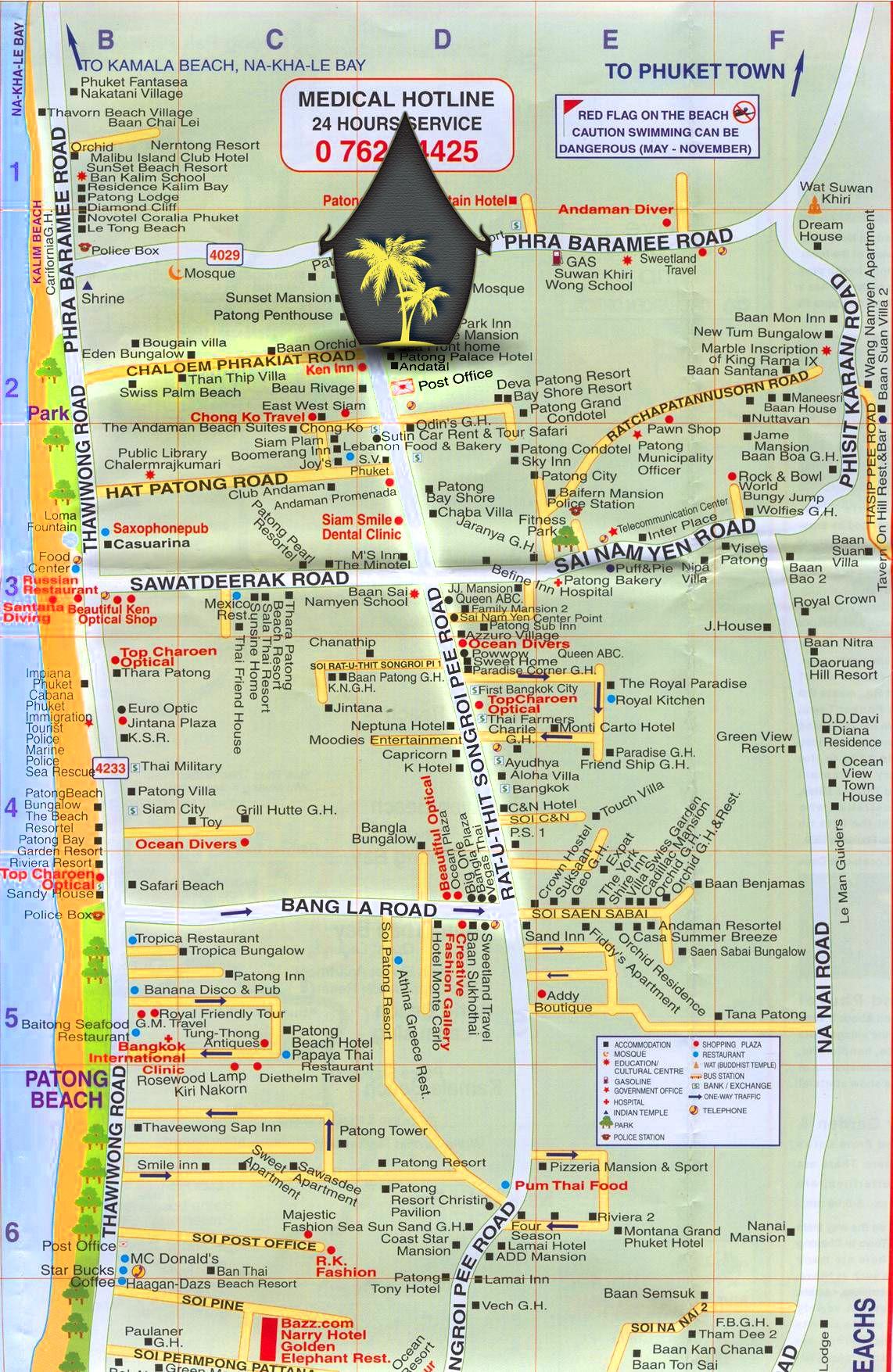 Kata Beach Phuket Thailand Attractions Map Karon Beach And Kata - Us travel safety map