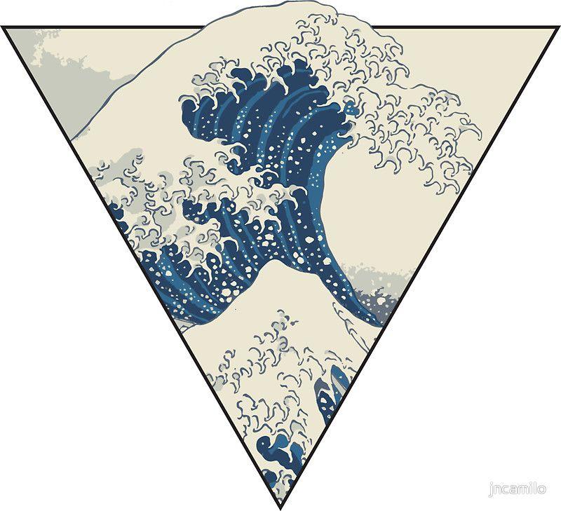 The Great Wave Off Kanagawa Geometry Sticker By Jncamilo Japanese Tattoo Waves Tattoo Pattern Tattoo