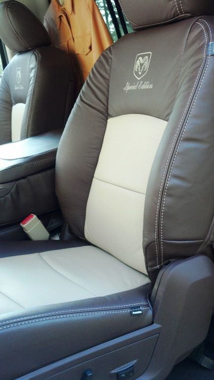 Special Edition Ram Head Embroidery Custom Automotive Leather Interior Upholstery Dodge Ram Clean Leather Seats Custom Seat Covers Dodge Ram