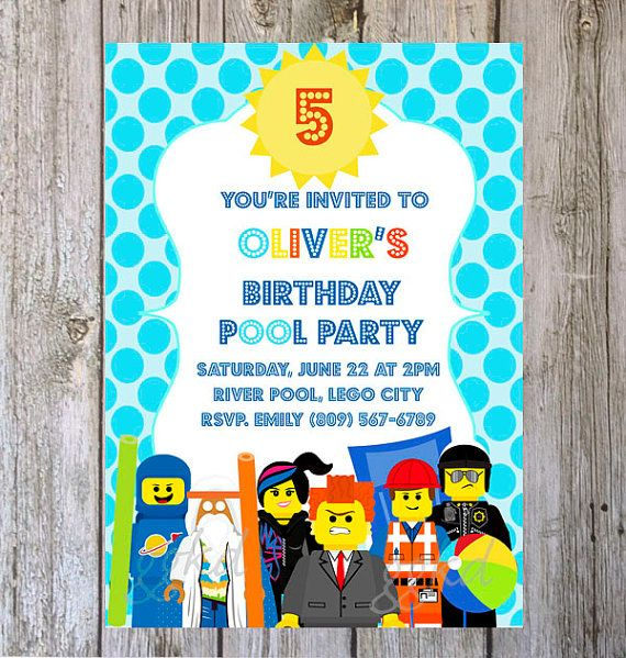 LEGO invitation Pool party invitation SummerPool Party Beach