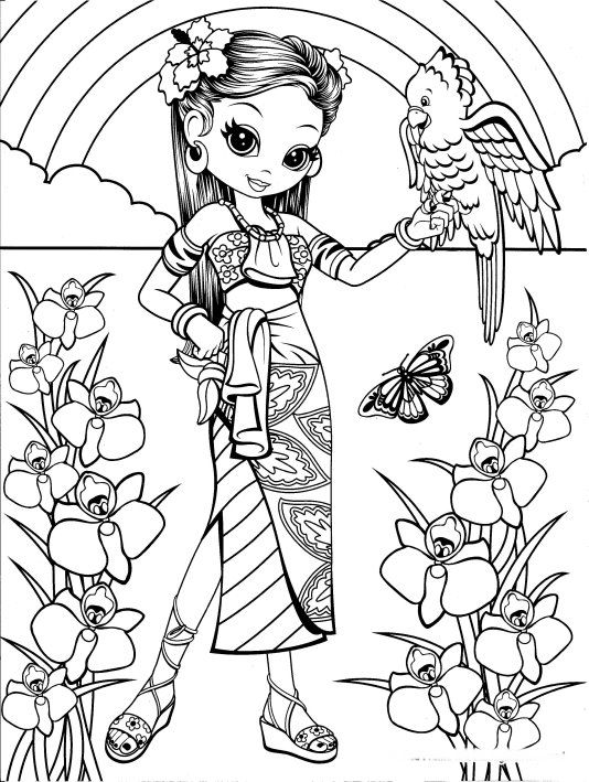 Hawaiian Girl With Bird Coloring Page Bird Coloring Pages
