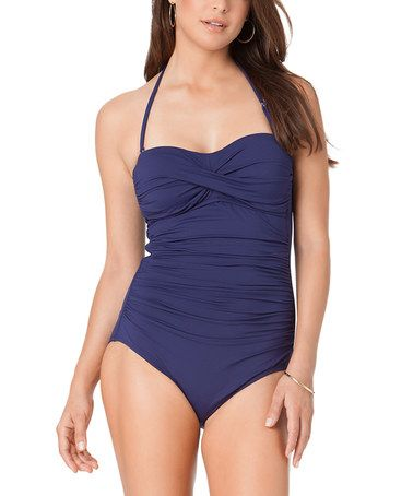 Another great find on #zulily! Navy Shirred Bandeau One-Piece #zulilyfinds