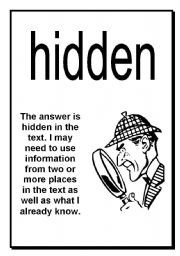 English worksheet: Here Hidden Head Comprehension Posters