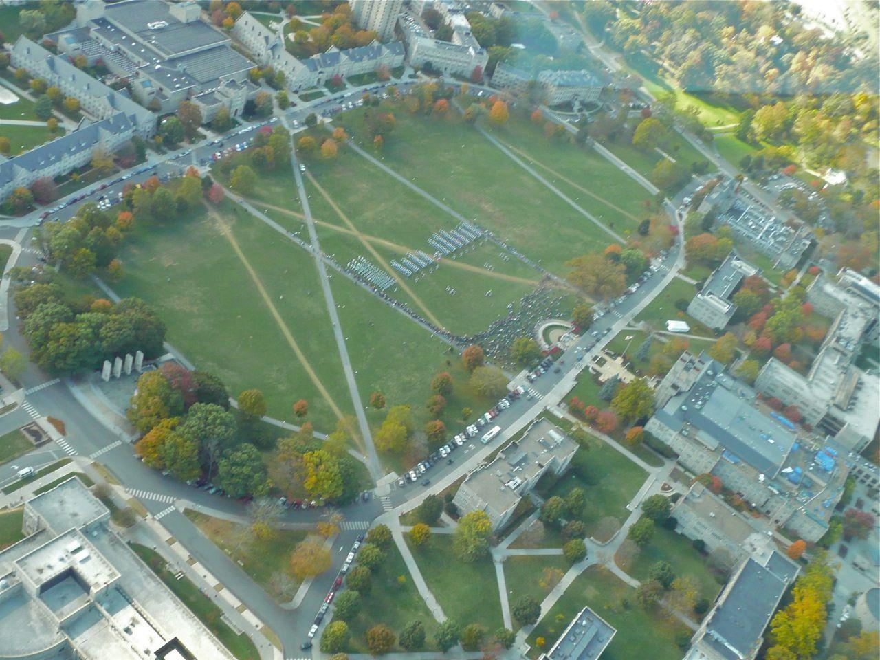 War Memorial Pylons and Drillfield, Virginia Tech Aerial
