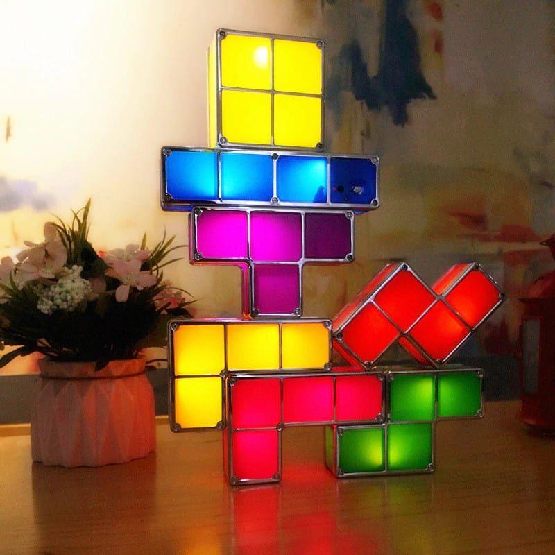 Tetris Decorative Lamp Desk Children Bedroom Night Light Lamp Decor Bedroom Night Light Puzzle Lights