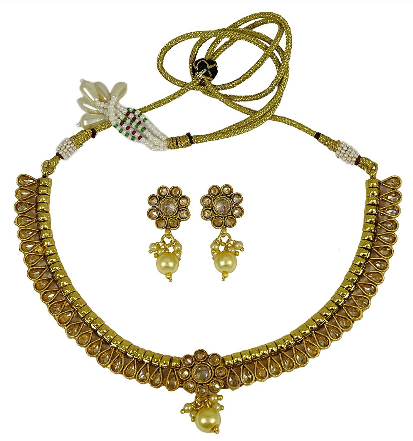 Matra 18K Goldplated Indian Women 2 Pcs Pendant Necklace Earring Set Wedding Jewellery