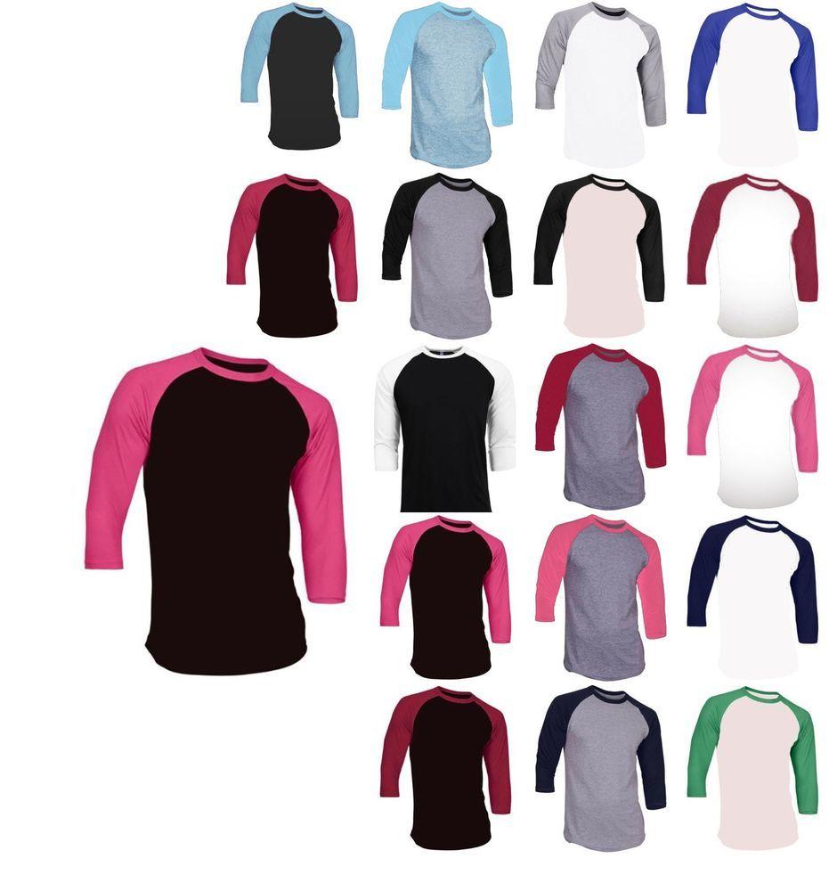 661ababe New 3/4 Sleeve Raglan Baseball Mens Plain Tee Jersey Team Sports T-Shirt S- 3XL #NoBrand #BasicTee