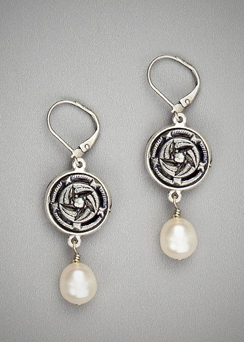 Silver Antique Button with Freshwater Pearl