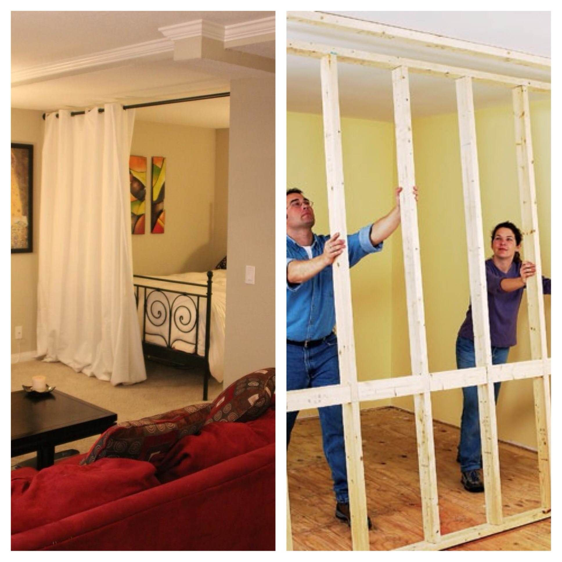 Install a room divider kit or build an expensive wall when figuring