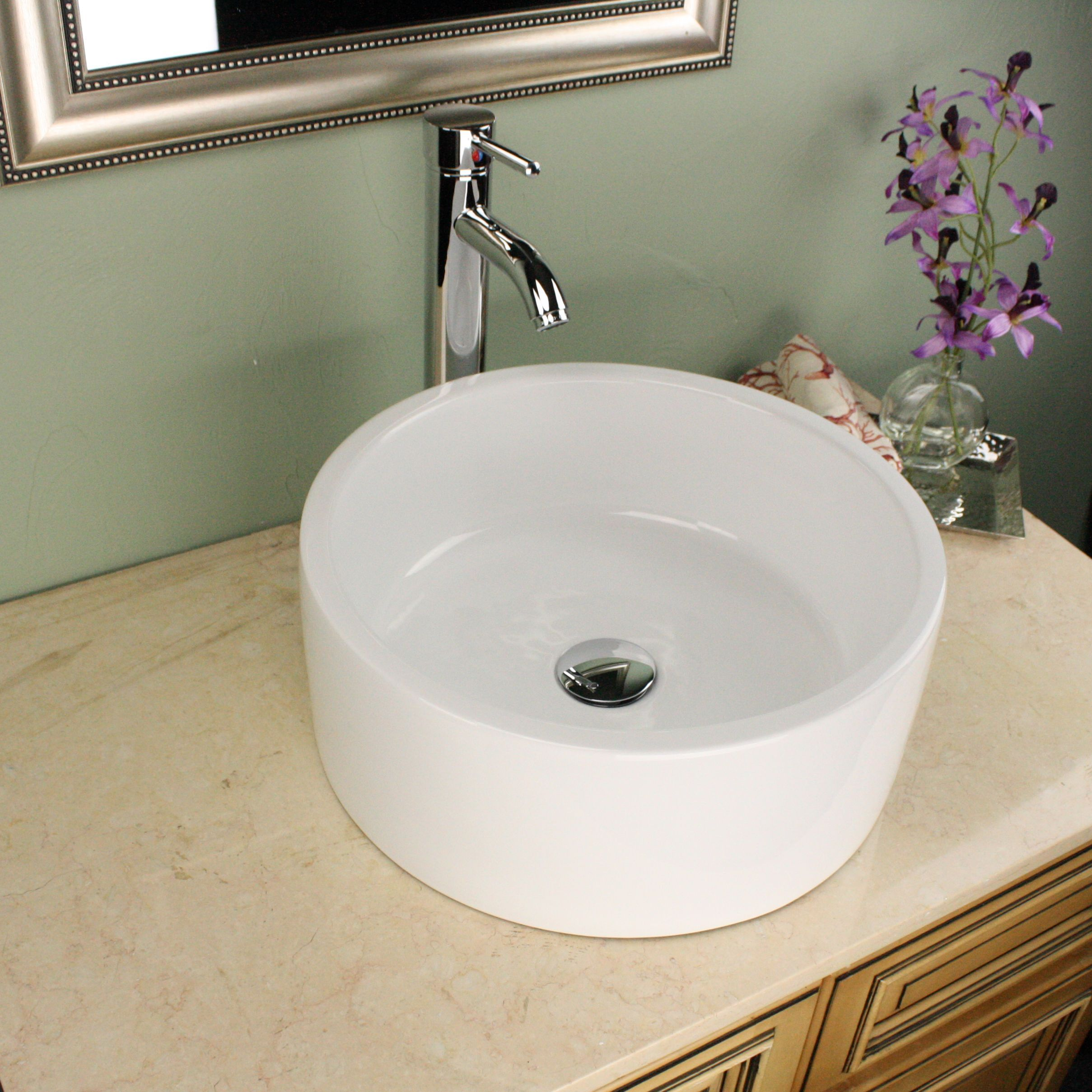 Highpoint Collection 16 Inch Round White Vessel Sink With Faucet And Drain Combo 16 Inch Round White Vessel With Faucet And Drain Vessel Sink Bathroom Sink White Vessel Sink