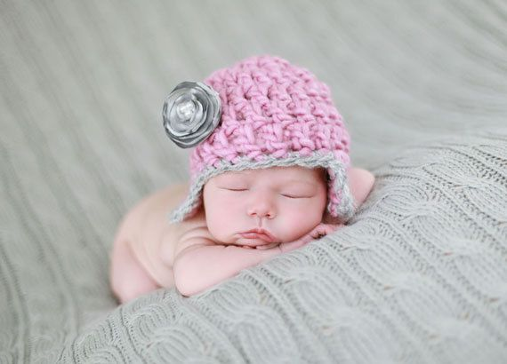 Newborn Girl Pink and Grey Flapper Hat With Detachable by pamsweny, $23.00