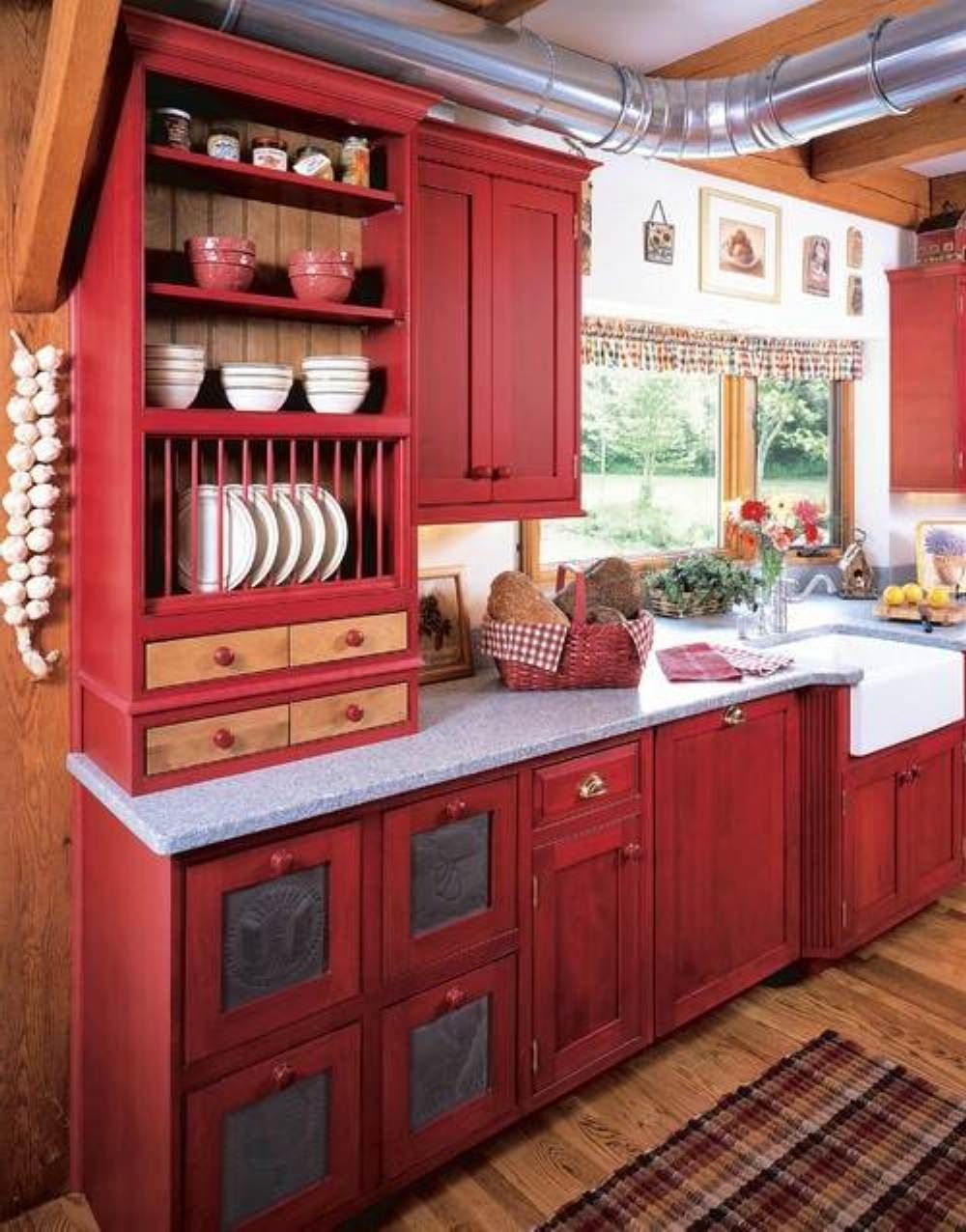 Red kitchen cabinet paint colors perfect kitchen cabinet for Country kitchen cabinets