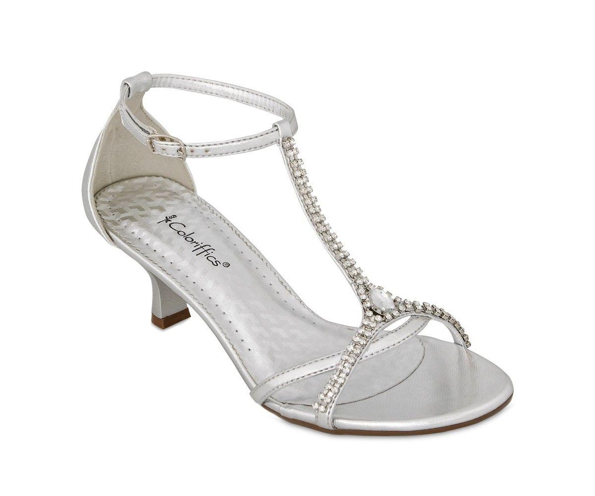 Silver Metallic Low Wide Heel Sandal With Rhinestone T