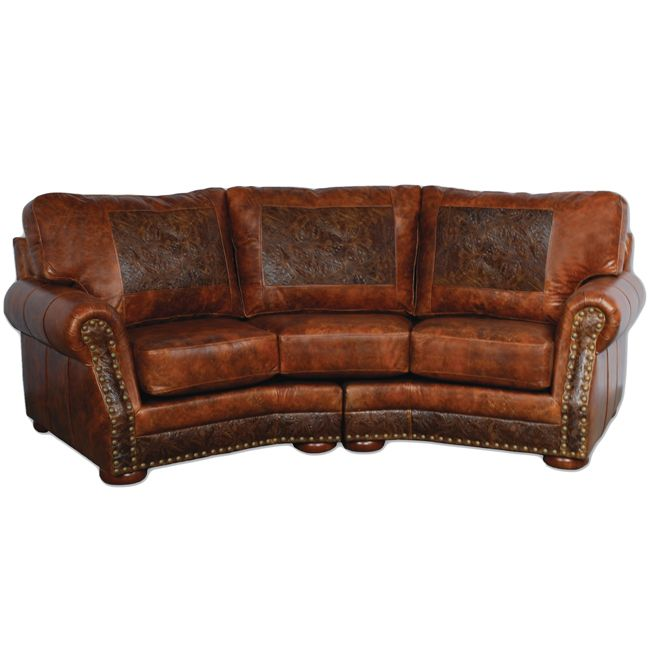 Cameron Ranch Antiquity Ember Curved Sofa Rustic Sofa Curved Sofa Western Furniture