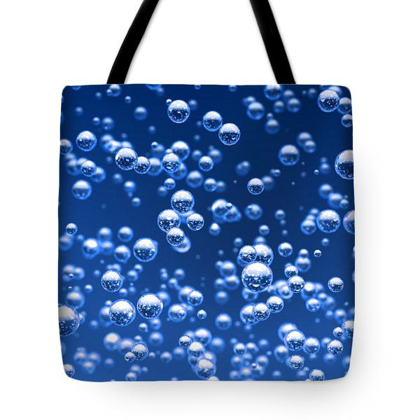 Tote Bags - Blue bubbles Tote Bag by Bruno Haver
