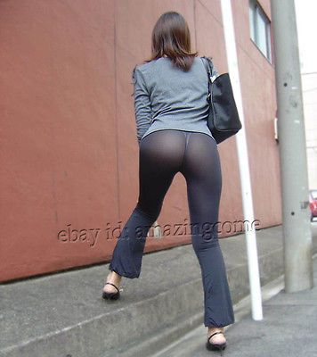 fce742b37685a4 Fashion Women Long Sheer Pants See-Through Casual Leggings Flare Leg ...