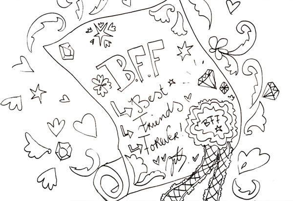 Kleurplaten Voor Volwassenen Bff.Bff Tekening Jill Drawings Smash Book En Calligraphy