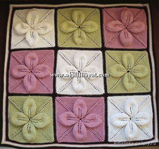 Yaprak motifli rengarenk battaniye modeli (anlatımlı)