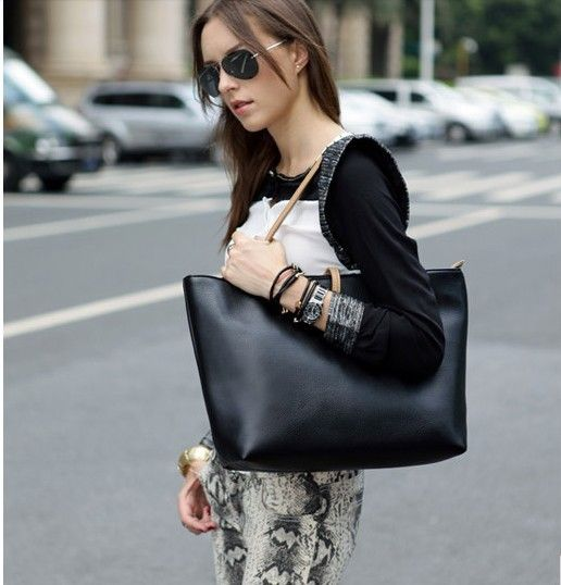 Free Shipping Black Leather Fashion Luxury Lady Ladies Women Woman Shoulder Handbag Bag 5355 $8.24