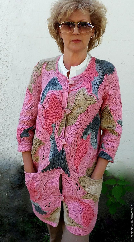 купить вязаное крючком пальто кардиган в стиле фриформ