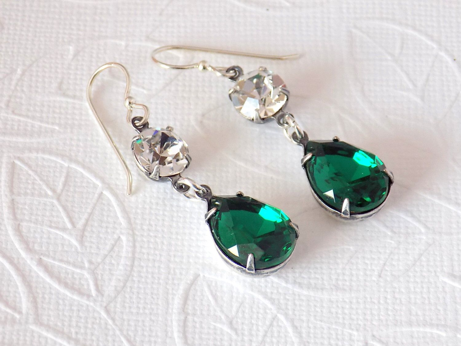 Emerald Green Earrings Swarovski Dangle Earrings Sterling Silver Earrings Edwardian Earrings Victorian Earrings Downton Abbey Jewelry by TreasuresofJewels on Etsy https://www.etsy.com/listing/265725193/emerald-green-earrings-swarovski-dangle