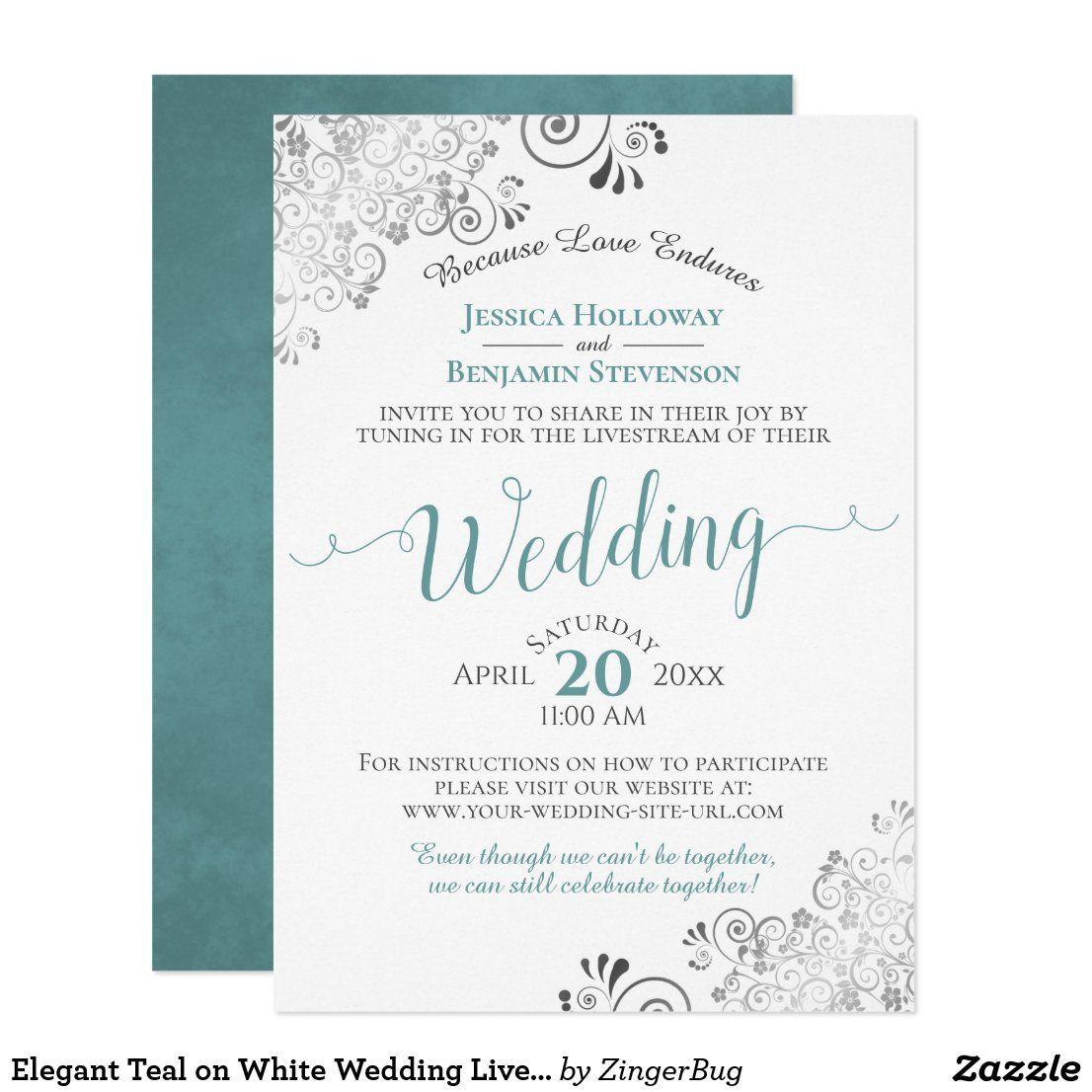 Elegant Teal on White Wedding Livestream Invitation