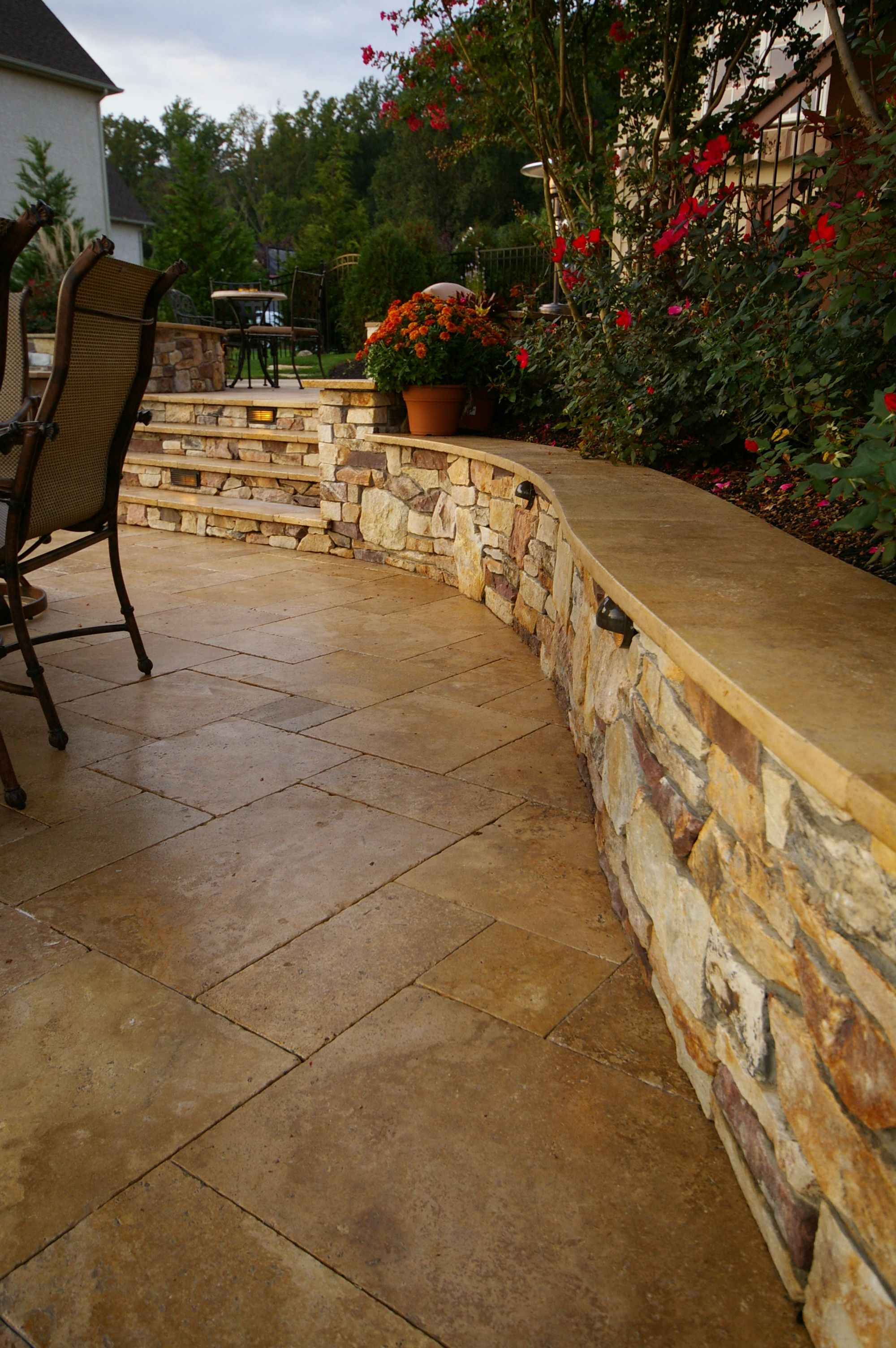 Backyard Creations Patio Awnings: Travertine Cap On Seat Wall