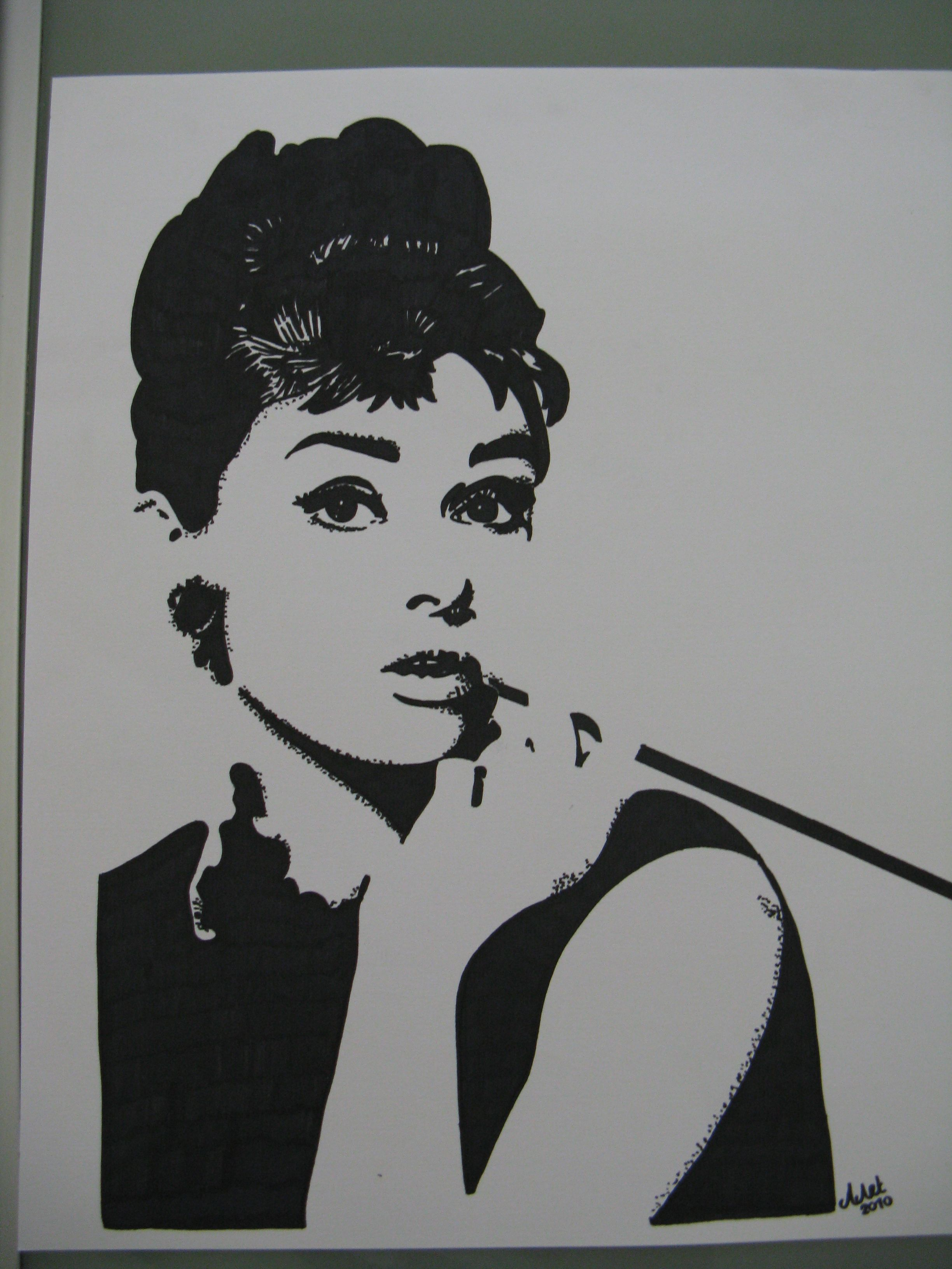 Audrey Hepburn Drawing With Black Marker Pencil Drawings Of Nature Audrey Hepburn Drawing Drawings