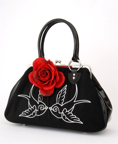 Lucky Me Kiss Locks Black with Sparrows | Style Rockabilly