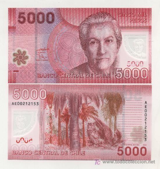 Cinco Mil Pesos Chilenos Gabriela Mistral Billetes Del Mundo Billetes Papel Moneda