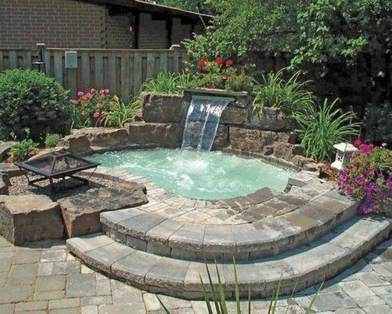 Inground Hot Tub With Waterfall And Fire Pit Small Backyard Pools Hot Tub Backyard Small Pool Design