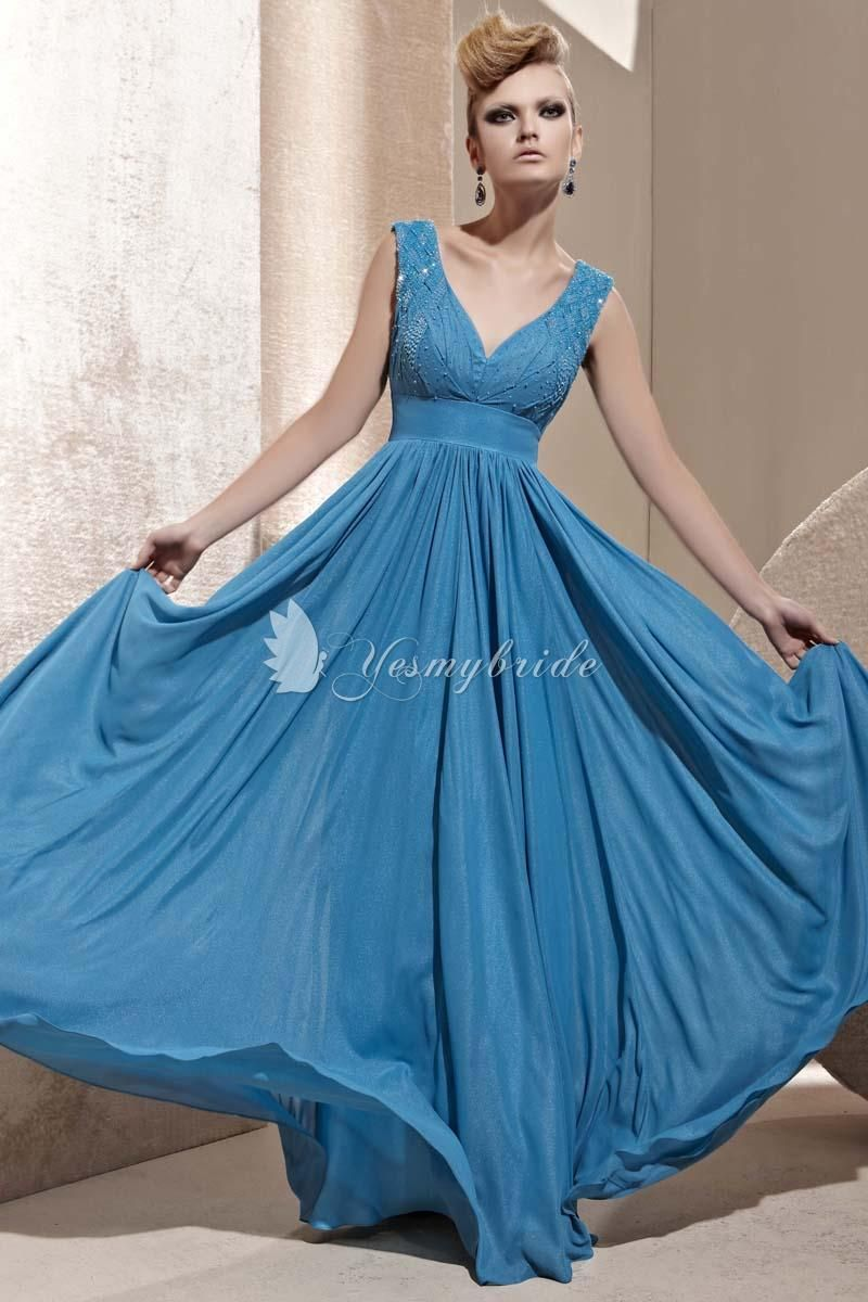 modest blue sheath full length formal dress with v-neck and ruched ...