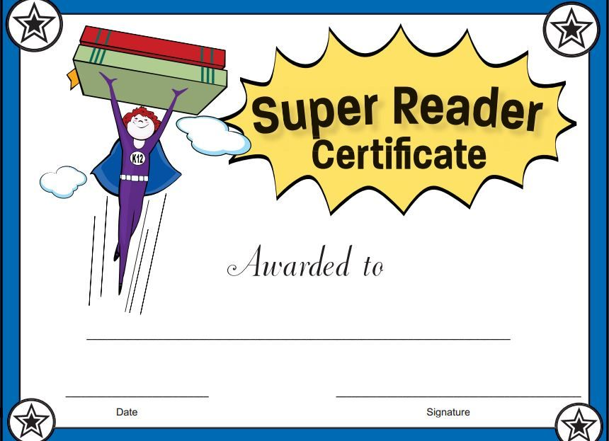 Free Printable Editable Reading Award Certificates  Reading