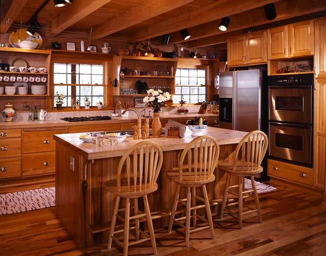 Log Kitchen Cabinets Kitchen Cabinets Traditional Red 003 Cp508b Early American Island Log Home Panelized Fridgejpg