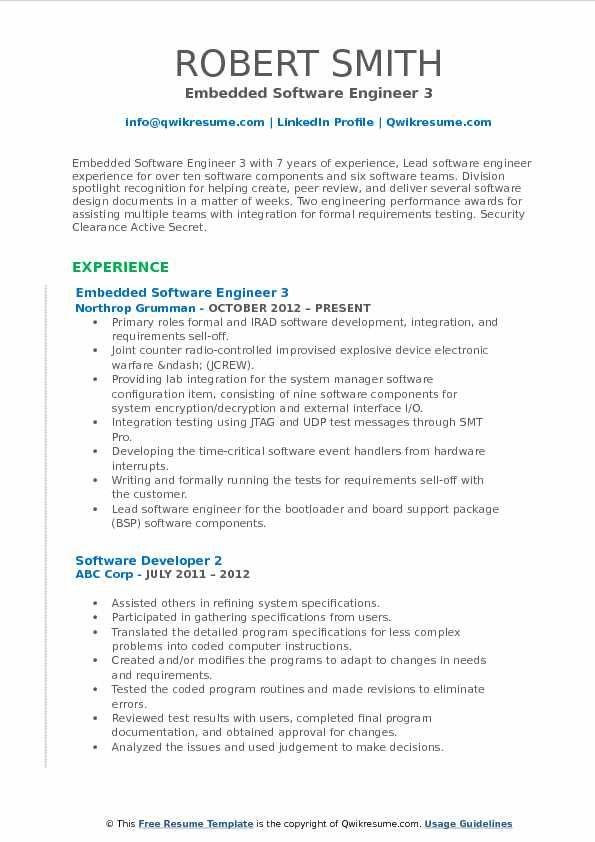 Embedded Software Engineer Resume Samples Qwikresume Amazing Embedded Software Engineer Resume Samples Qwikresum In 2020 Software Engineer Resume Job Resume Samples