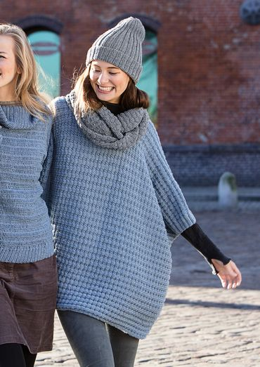 Knit this snug poncho from the Merino Moments Collection.