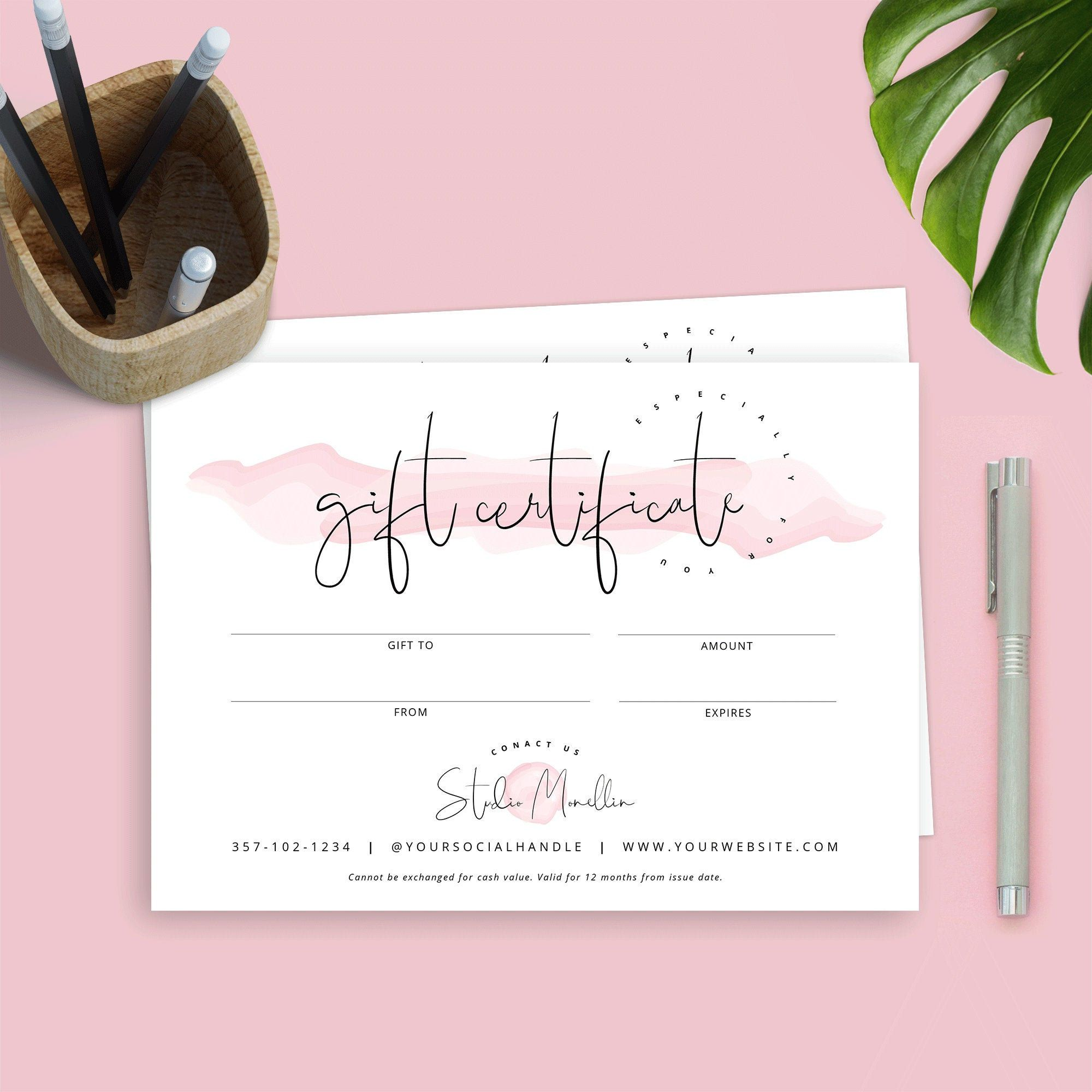 Elegant Gift Certificate Template Mother S Day Gift Etsy Gift Voucher Design Gift Certificate Template Beauty Gift Certificate