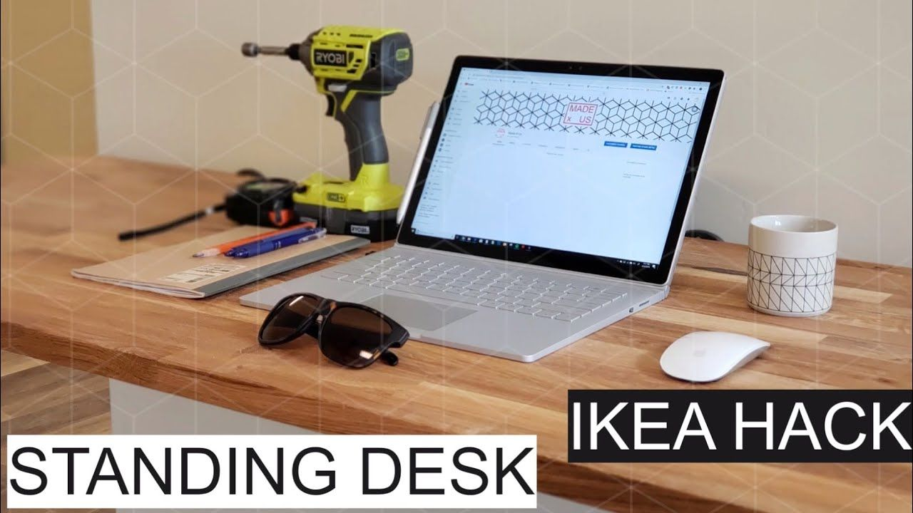 Build Floating Standing Desk Ikea Hack With Hammarp Butcher Block