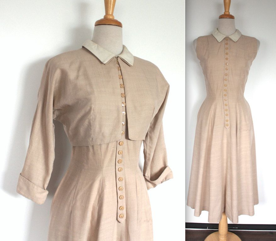bf5e380e125b Vintage 1950's Dress // 40s 50s Tan Gabardine Day Dress and Jacket Set…