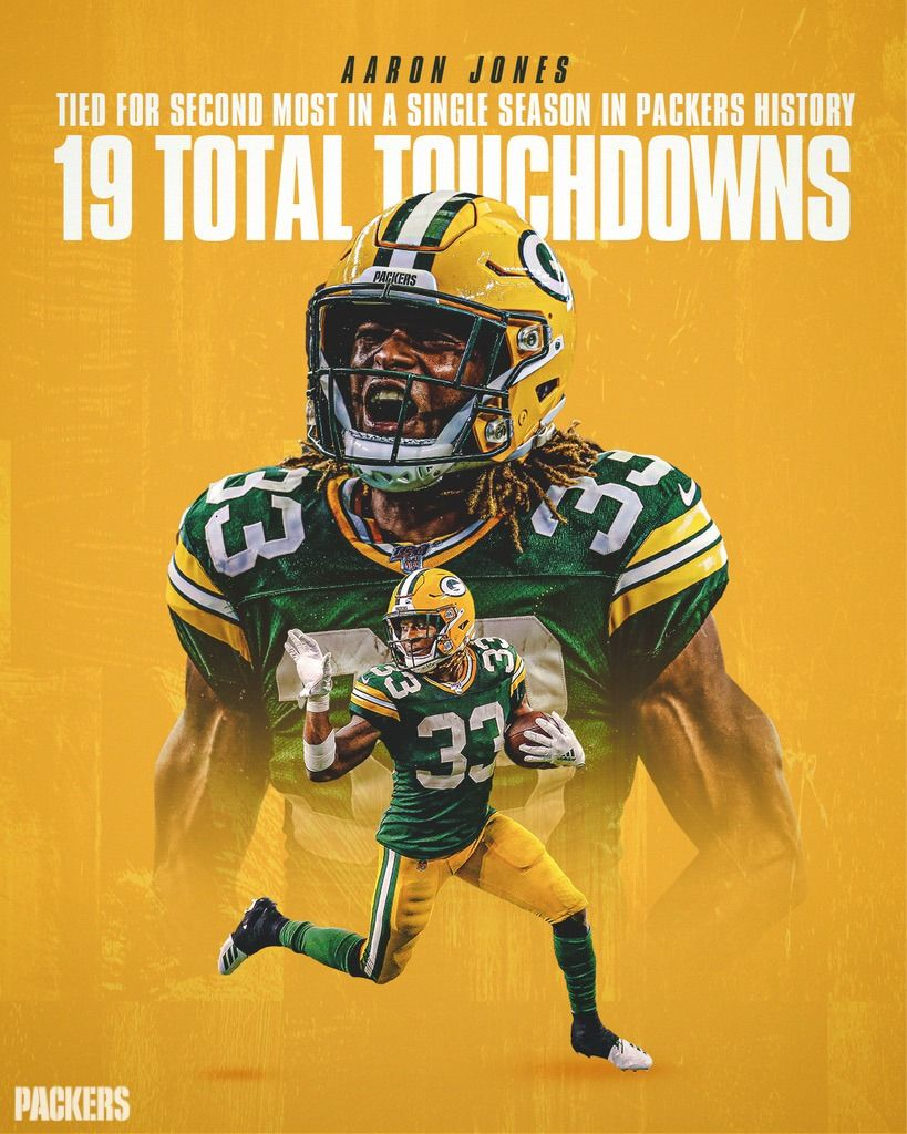 Aaron Jones Finished The Regular Season With 1 9 Total Touchdowns Which Tied For The Most In The Nfl Second Most In A Single Season Green Bay Packers Green Bay Packers