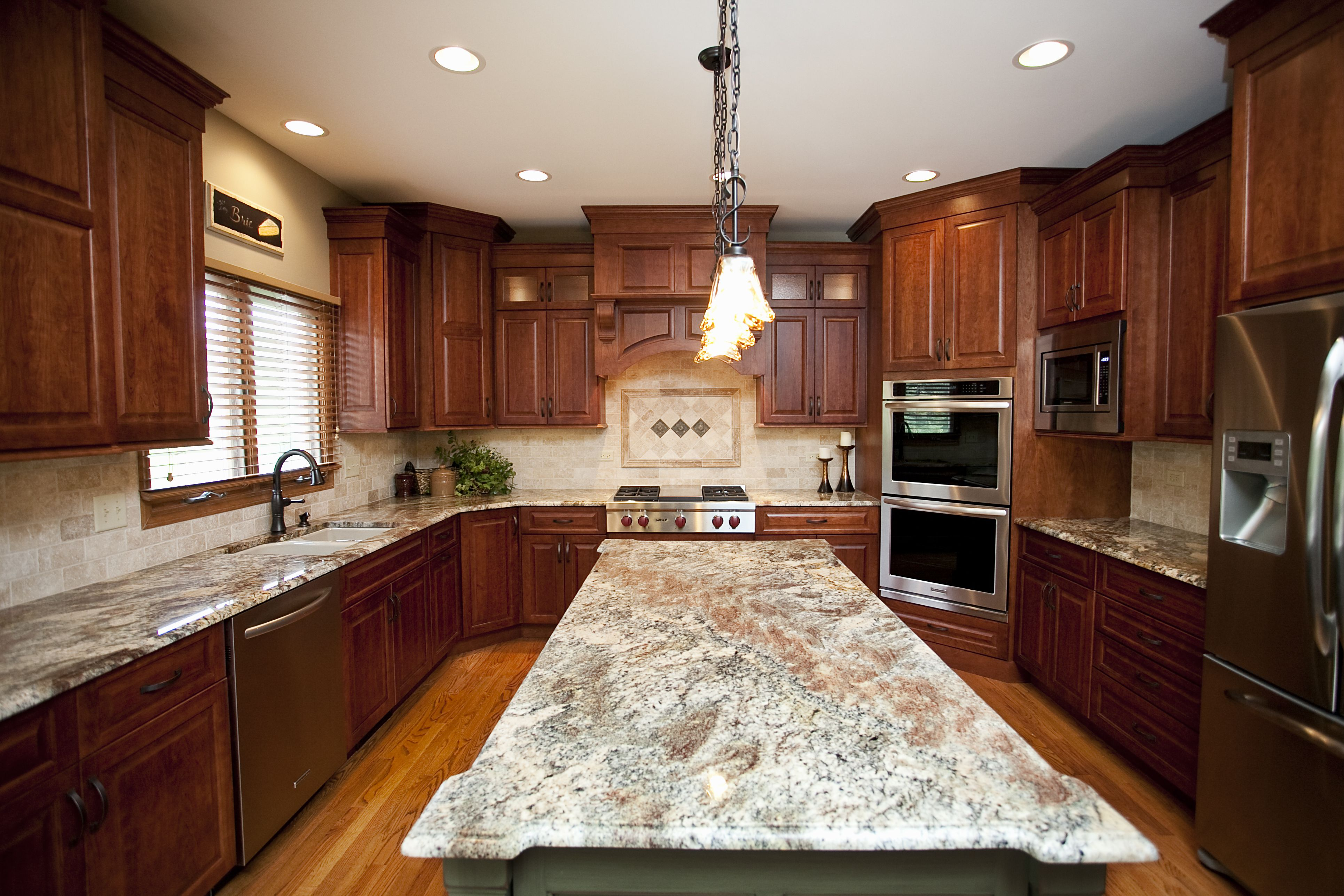 Beautiful Woodridge Kitchen Remodel. Cherry Cabinets In Shaker, Staggered  Style. Sizeable Island In